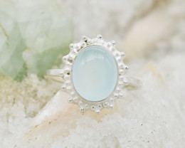CHALCEDONY RING 925 STERLING SILVER NATURAL GEMSTONE JR103