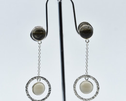 SMOKY QUARTZ EARRINGS 925 STERLING SILVER NATURAL GEMSTONE JE95