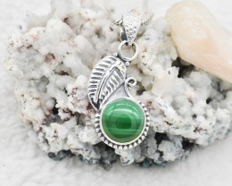 MALACHITE PENDANT 925 STERLING SILVER NATURAL GEMSTONE JP167