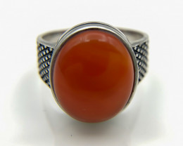 36.90 Crt Natural Red Agate 925 Silver Ring
