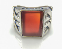 43.72 Crt Natural Red Agate 925 Silver Ring