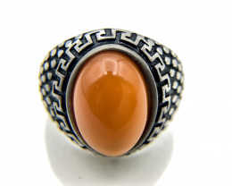 39.65 Crt Natural Red Agate 925 Silver Ring