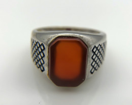 31.59 Crt Natural Red Agate 925 Silver Ring
