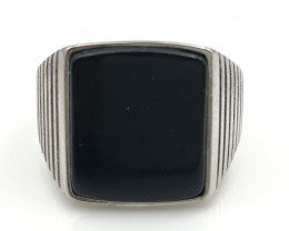 36.50 Crt Natural Black Onyx 925 Silver Ring