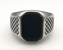 27.52 Crt Natural Black Onyx 925 Silver Ring