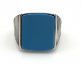 33.60 Crt Natural Howlite Turquoise 925 Silver Ring