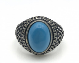 39.07 Crt Natural Howlite Turquoise 925 Silver Ring