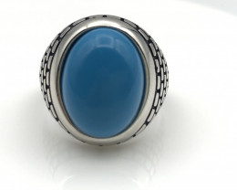 40.32 Crt Natural Howlite Turquoise 925 Silver Ring