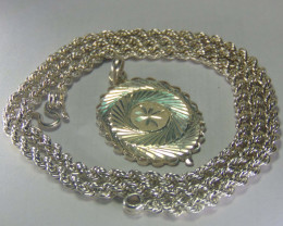 Solid 999 pure silver Heavy Look Silver rope and pendent 20""