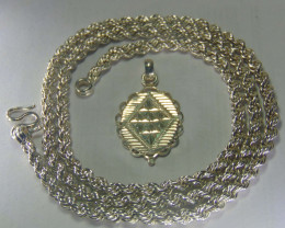 """Solid 999 pure silver Heavy Look Silver rope and pendent 20"""""""