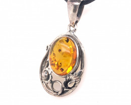 polished amber Pendant silver  BR 2497