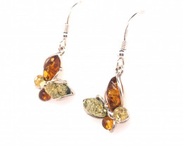 Multi Colored Amber silver Earings BR 2499