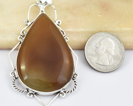 Genuine 108.00 Cts Tibet Silver Onyx Pendant