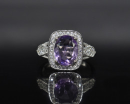 EXCLUSIVE RING Made with Genuine Amethyst and Sterling Silver GR548