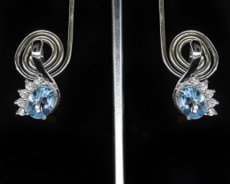 EXCLUSIVE EARRING Made with Genuine Blue Topaz and Sterling Silver GE71
