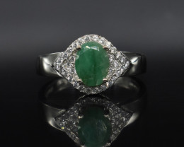 EXCLUSIVE RING Made with Genuine Emerald and Sterling Silver GR562