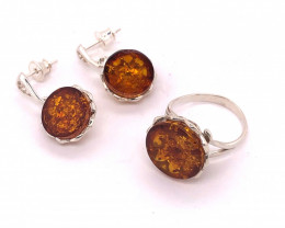 Matching Amber Earrings and Ring size 6 BR 2507