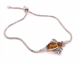 Bee design silver amber bracelet BR 2508