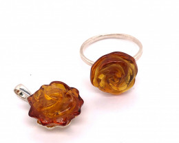 matching flower design Amber ring and pendant BR 2506