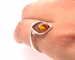 Freeform shape amber silver ring Br 2509