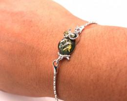 Golden Owl Amber sterling silver bracelet Br 2511