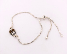 Amber  sterling silver Skull  bracelet Br 2510