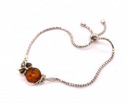Amber sterling silver Owl bracelet Br 2514