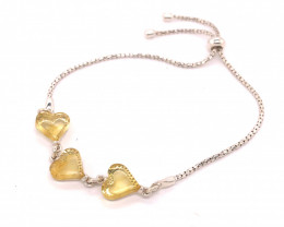 lOVERS HEARTS Amber sterling silver bracelet Br 2517