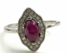 13.60 Crt Natural Ruby with Cubic Zircon 925 Silver Ring