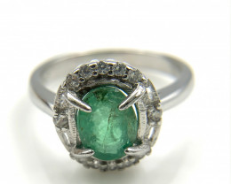 18.12 Crt Natural Emerald with Cubic Zircon 925 Silver Ring