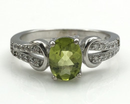 16.10 Crt Natural Peridot with Cubic Zircon 925 Silver Ring