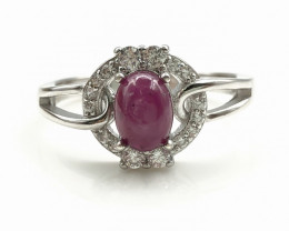 16.81 Crt Natural Ruby with Cubic Zircon 925 Silver Ring