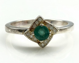 13.58 Crt Natural Emerald with Cubic Zircon 925 Silver Ring