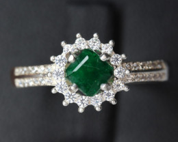 Natural Emerald Transparent for men Handmade 925 Sterling silver ring