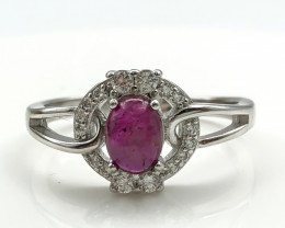16.46 Crt Natural Ruby with Cubic Zircon 925 Silver Ring