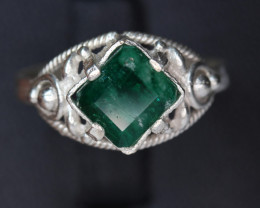 Natural emerald Transparent  white Rhodium 925 Sterling silver ring