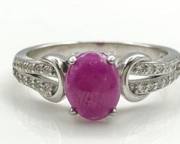 16.22 Crt Natural Ruby with Cubic Zircon 925 Silver Ring