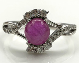 15.43 Crt Natural Ruby with Cubic Zircon 925 Silver Ring