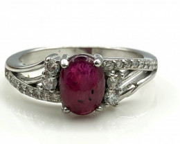 15.46 Crt Natural Ruby with Cubic Zircon 925 Silver Ring