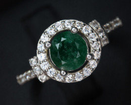 Natural emerald  Transparent  white Rhodium 925 Sterling silver rin