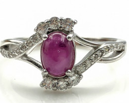 16.07 Crt Natural Ruby with Cubic Zircon 925 Silver Ring