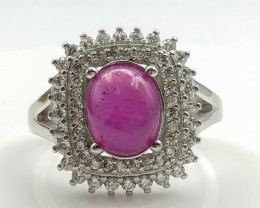 27.49 Crt Natural Ruby with Cubic Zircon 925 Silver Ring