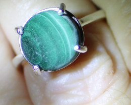Malachite 5.20ct Platinum Finish Solid 925 Sterling Silver Solitaire Ring