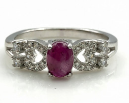 16.67 Crt Natural Ruby With Cubic Zircon 925 Silver Ring