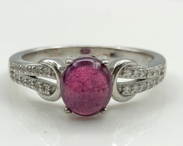 17.76 Crt Natural Ruby With Cubic Zircon 925 Silver Ring