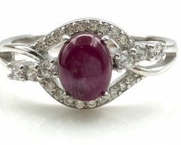 16.97 Crt Natural Ruby With Cubic Zircon 925 Silver Ring