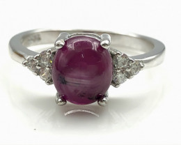 14.02 Crt Natural Ruby With Cubic Zircon 925 Silver Ring