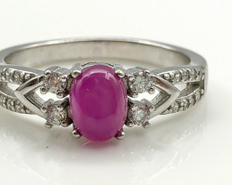 17.97 Crt Natural Ruby With Cubic Zircon 925 Silver Ring
