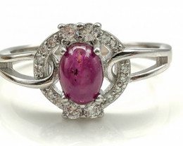 16.43 Crt Natural Ruby With Cubic Zircon 925 Silver Ring