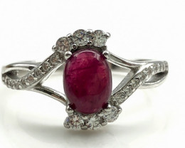 15.22 Crt Natural Ruby With Cubic Zircon 925 Silver Ring